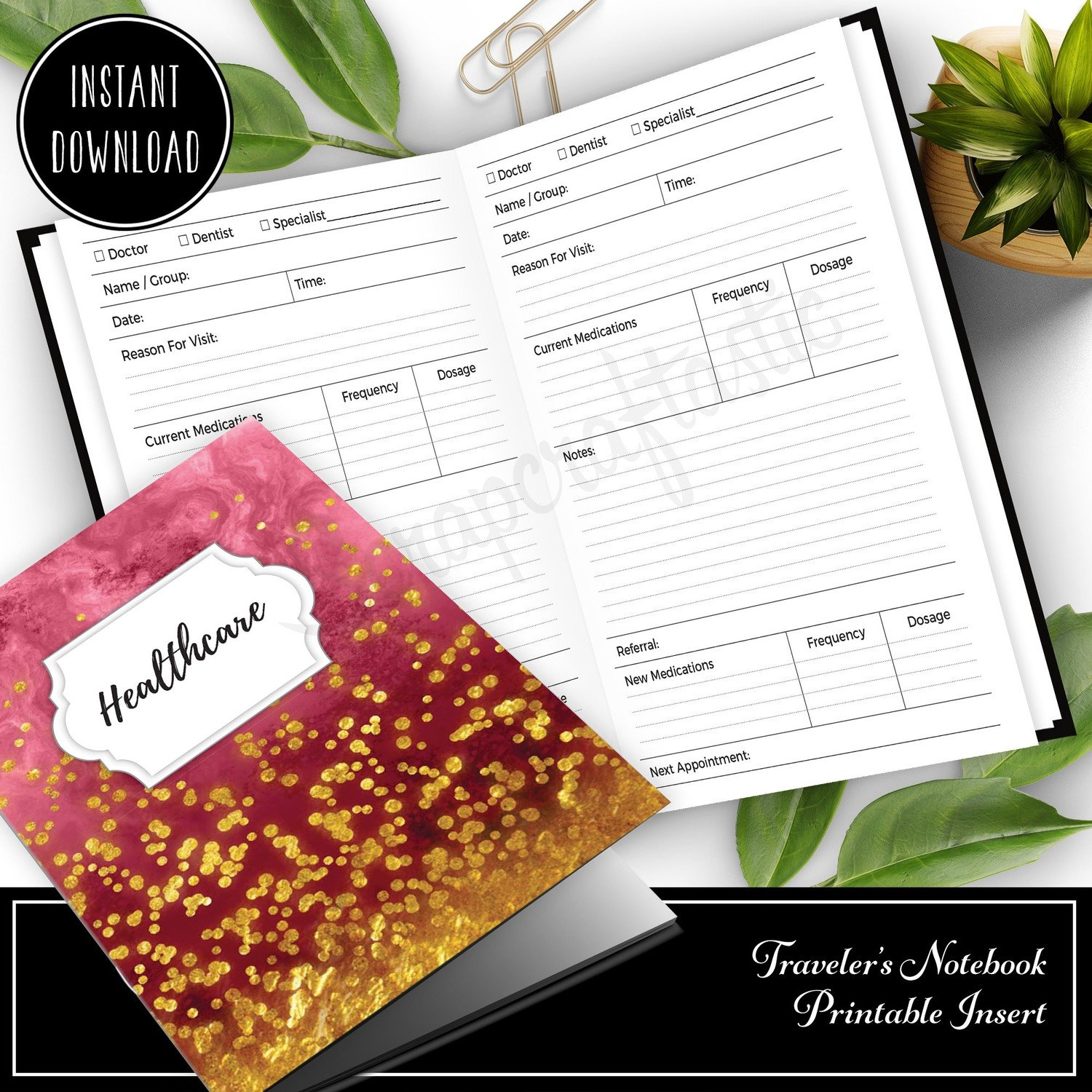 A6 TN - Healthcare Visit Log Traveler's Notebook Printable Insert