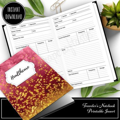B6 SLIM TN - Healthcare Visit Log Traveler's Notebook Printable Insert