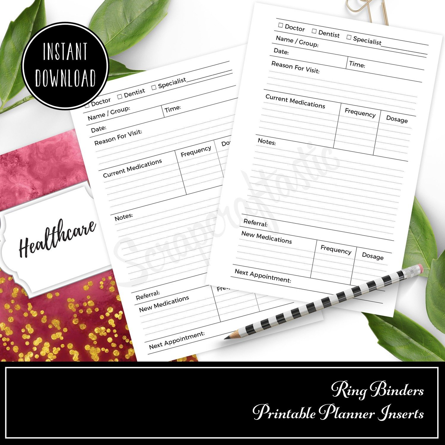 POCKET RINGS - Healthcare Visit Log Ring Binder Printable Insert