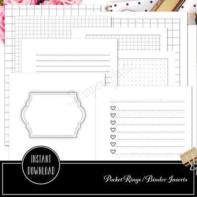 POCKET RINGS - The Basics Ring Binder Printable Inserts - Cover, Checklists, Grids, Dot Grids, Lined and Blank Inserts