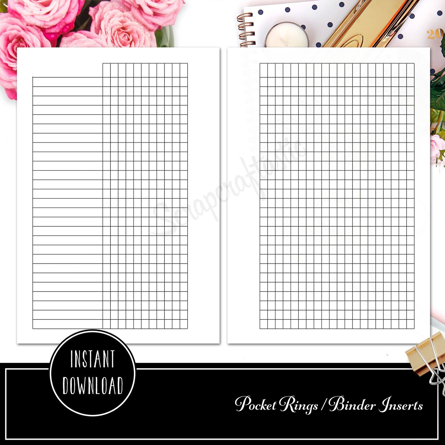 picture about Printable Planner Inserts named POCKET RINGS - Routine Tracker Ring Binder Printable Planner Inserts