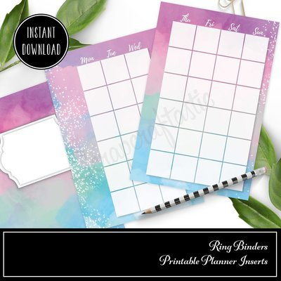 POCKET RINGS - Unicorn Magic Monthly Undated Ring Binder Printable Insert (Monday Start)