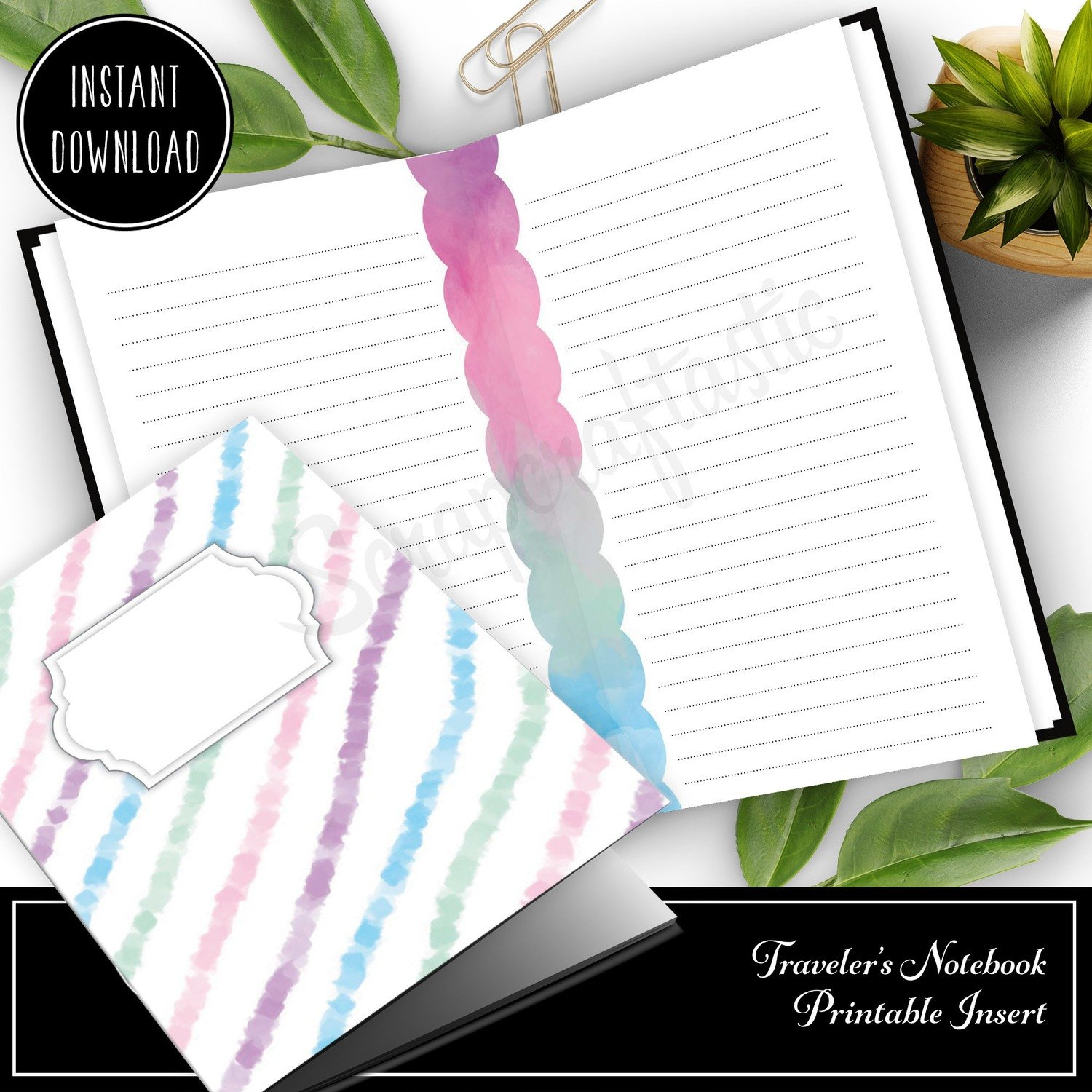 HALF LETTER TN or RINGS - Unicorn Magic Lined Note Paper Printable Insert (Binder or Traveler's Notebook)