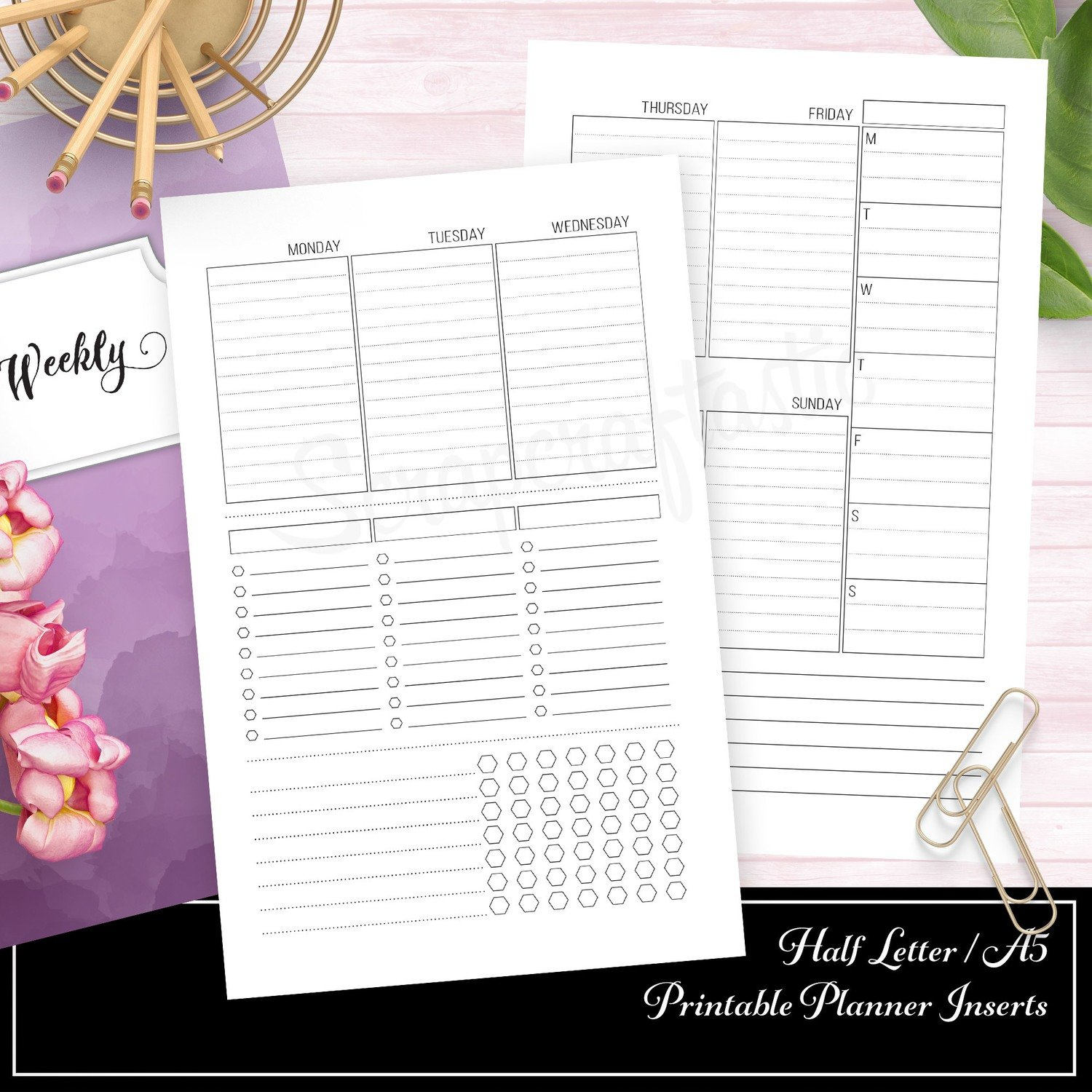 HALF LETTER A5 - Week 33 Deluxe Week On Two Pages (WO2P) Ring Binder or Traveler's Notebook Printable Planner Inserts