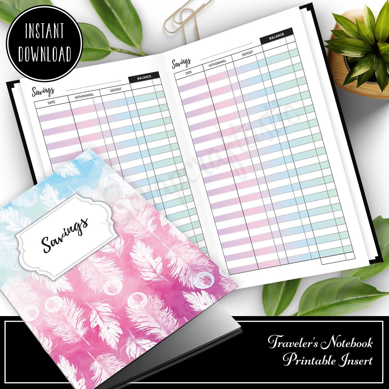 HALF LETTER TN or RINGS - Unicorn Magic Savings Log Printable Insert (Binder or Traveler's Notebook)