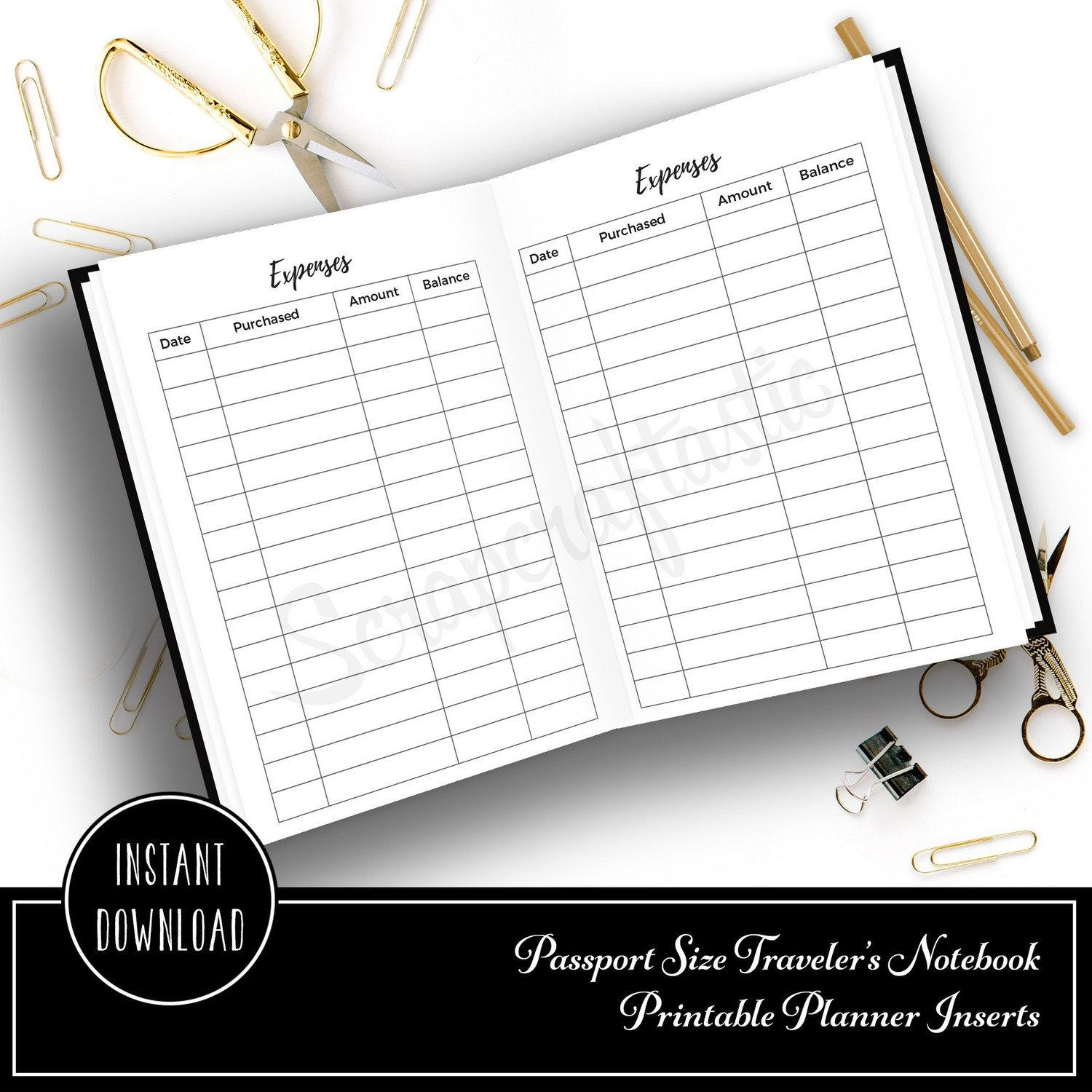 PASSPORT - Custom Expense Log Traveler's Notebook Printable Insert