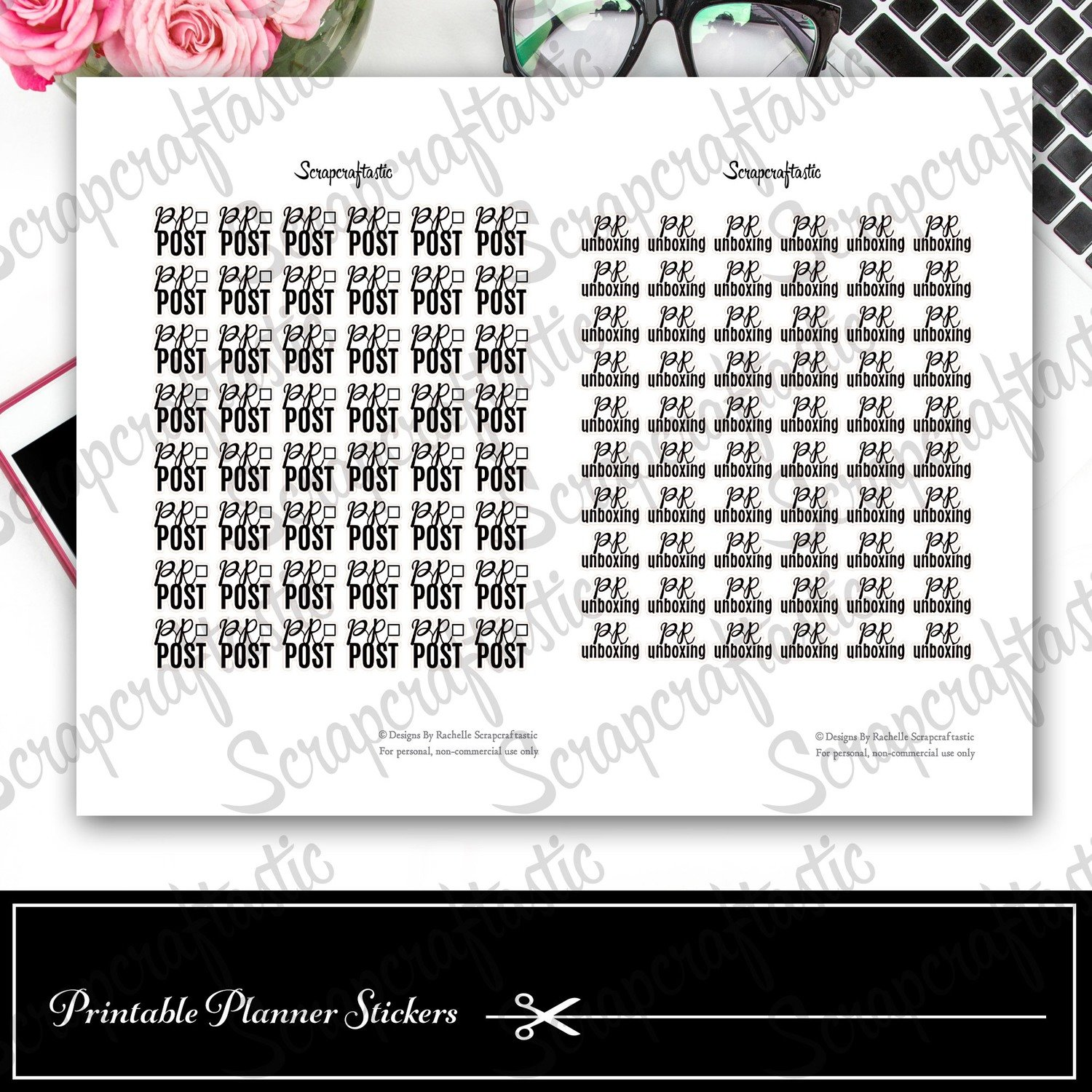 PR Post and PR Unboxing Neutral Printable Planner Stickers