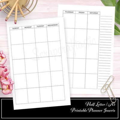 HALF LETTER A5 RINGS or TN Undated Half Page Month on Two Pages (MO2P) Printable Planner Insert