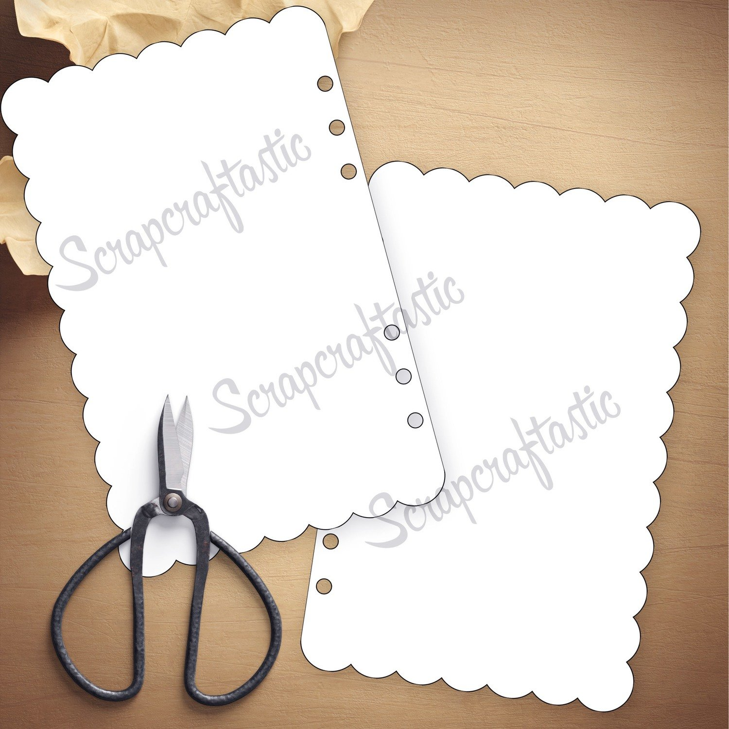 HALF LETTER A5 RINGS - Scallop Dashboard Cut Files and Templates