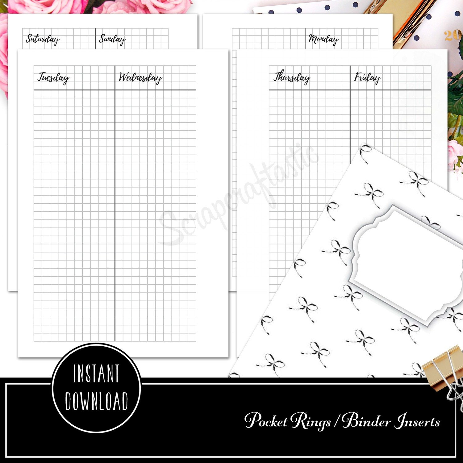 POCKET RINGS - Week On Four Pages (WO4P) Vertical Grid Printable Planer Inserts