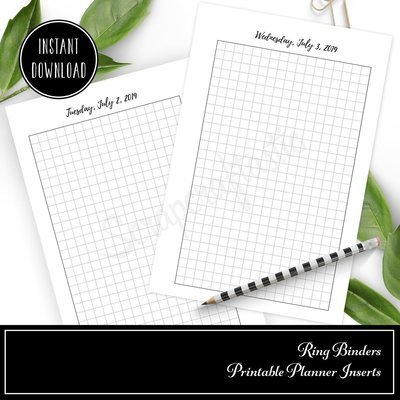 POCKET RINGS - 2019 Full Year (Dec 31, 2018 - Jan 2, 2020) Daily Grid Printable Inserts