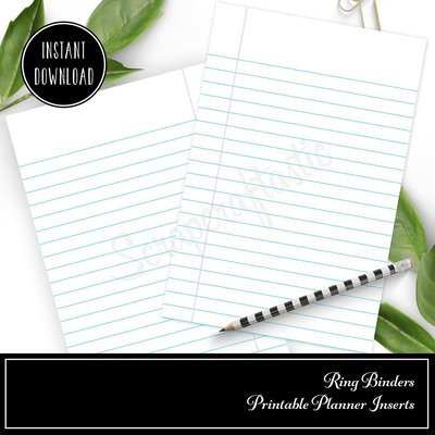 POCKET RINGS A7 - Notebook Paper Lined Rings Printable Insert