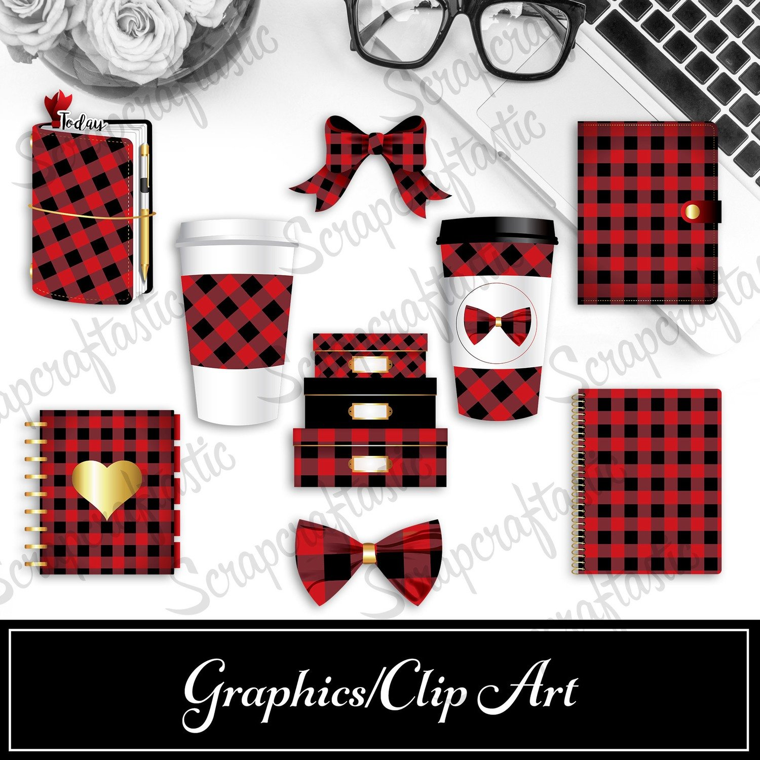 Buffalo Plaid Digital and Printable Graphics / Clip Art