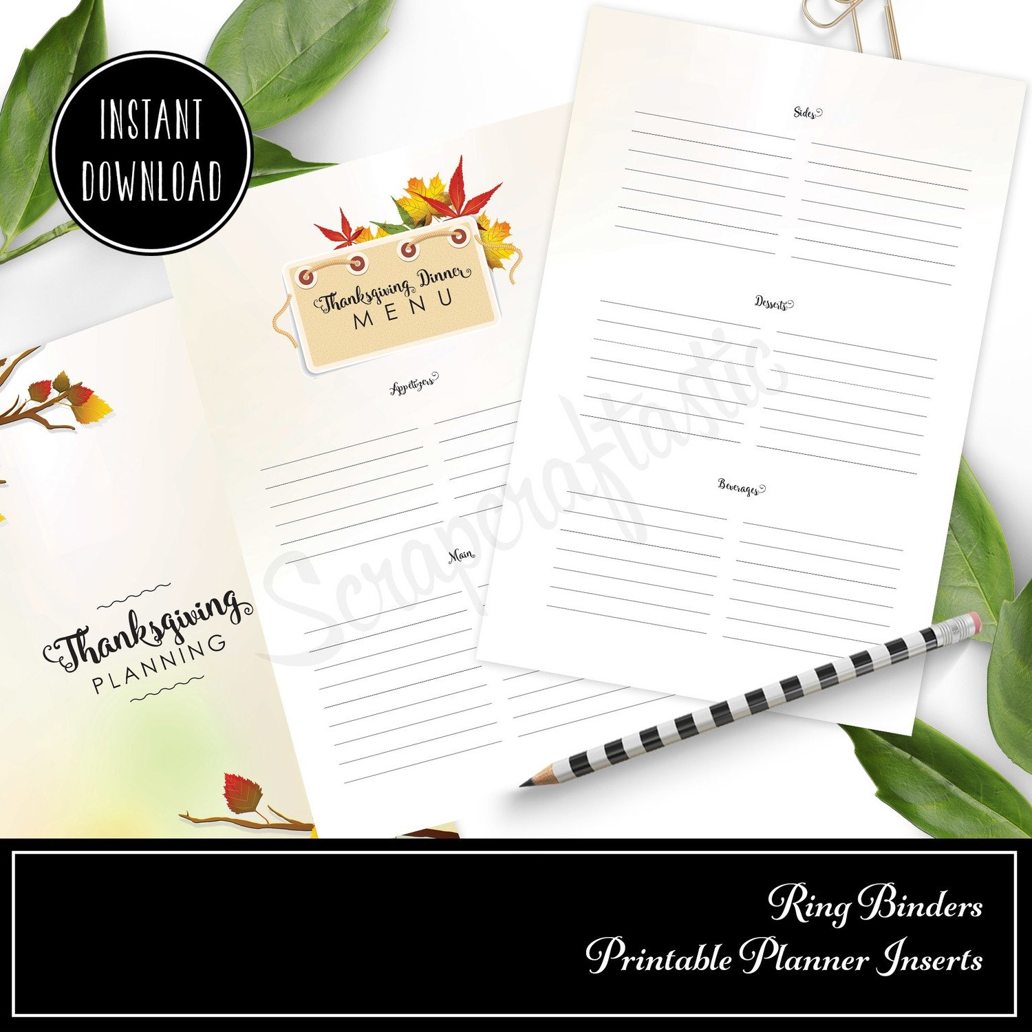 graphic regarding Thanksgiving Planner Printable named 50 % LETTER TN or RINGS - Thanksgiving Coming up with Printable Include (Binder or Travellers Laptop computer)
