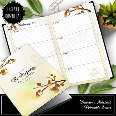 B6 TN  - Thanksgiving Planning Traveler's Notebook Printable Insert