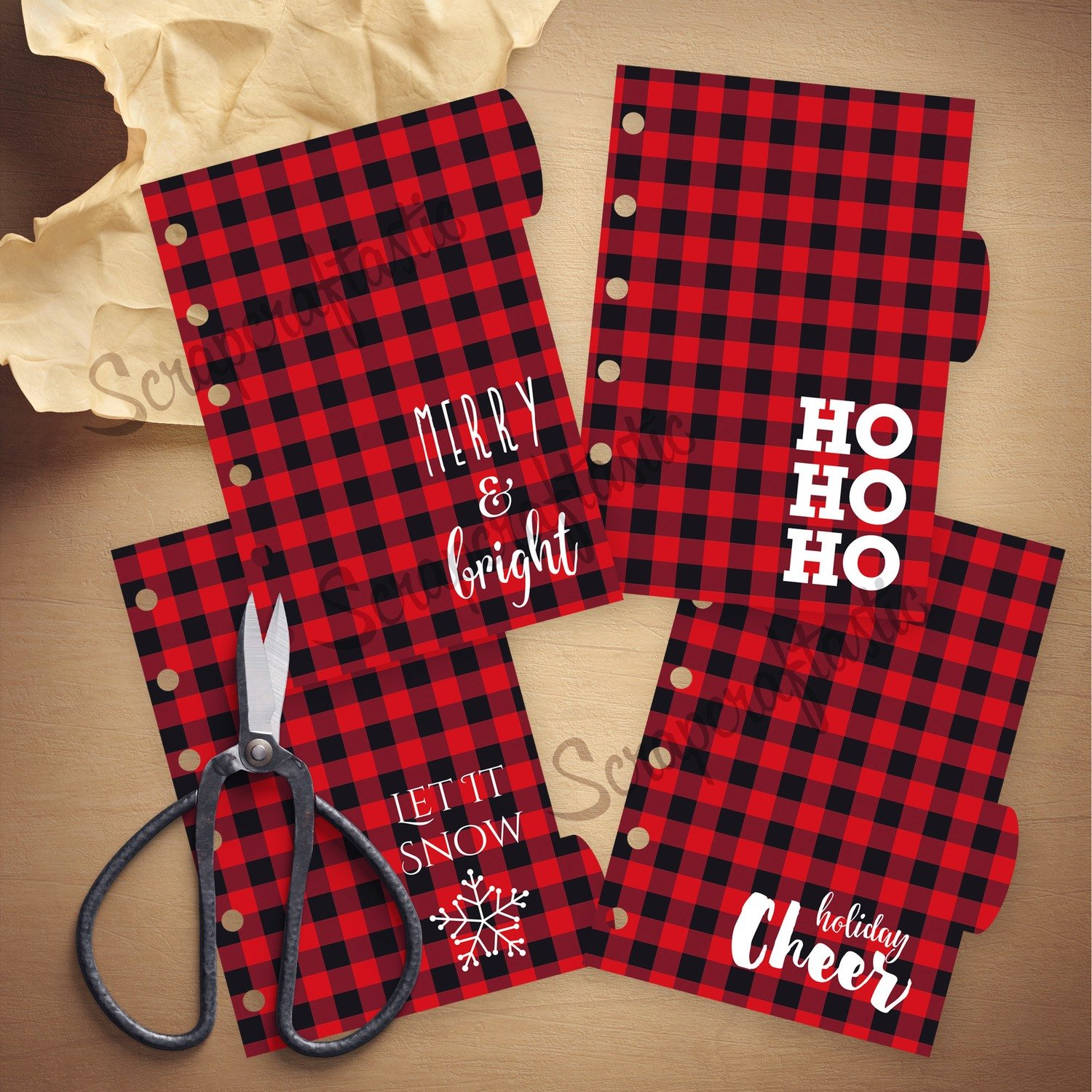 POCKET RINGS - Holiday Buffalo Plaid 4 Rounded Tab Printable Dividers and Studio Cut File