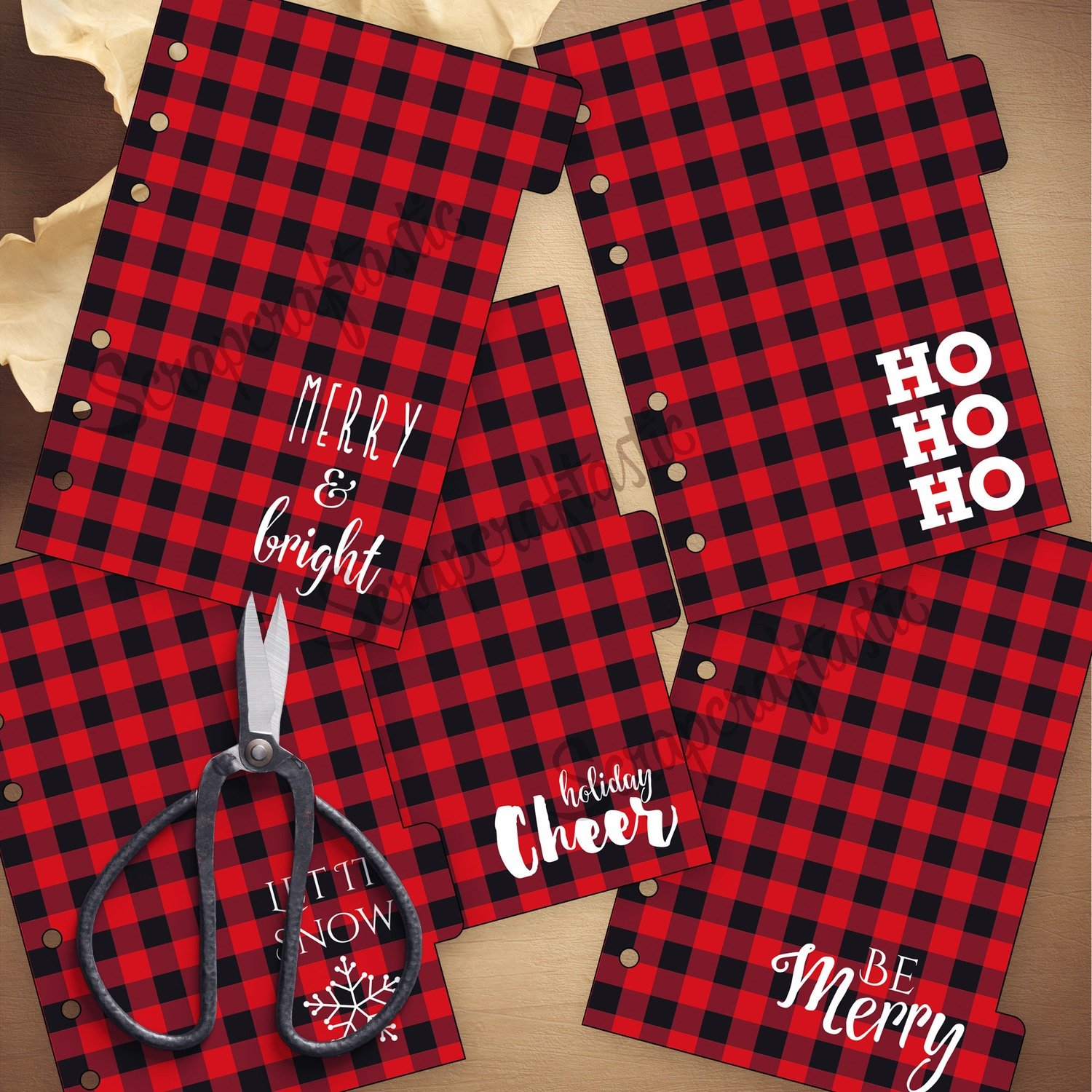 A6 RINGS - Holiday Buffalo Plaid 5 Tab Printable Dividers and Studio Cut File