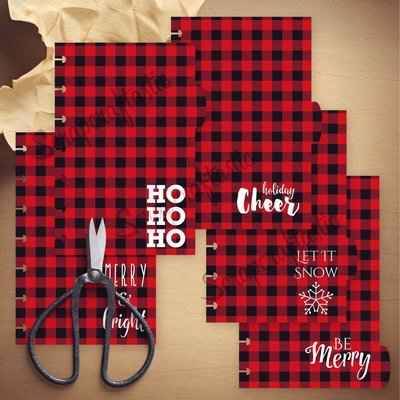 MINI DISC - Holiday Buffalo Plaid 5 Tab Printable Dividers and Studio Cut File