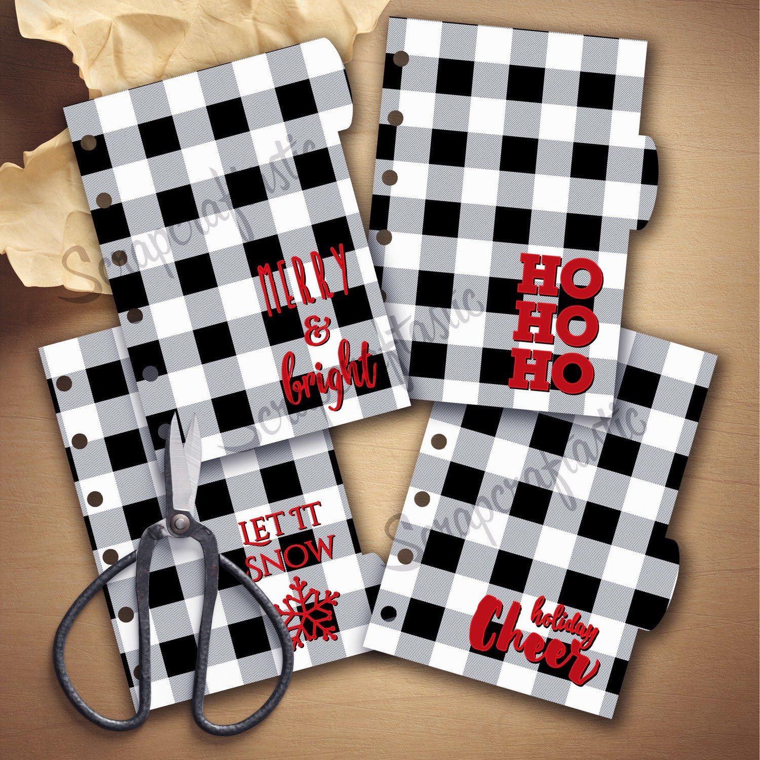 POCKET RINGS - Holiday Buffalo Plaid Black White 4 Rounded Tab Printable Dividers and Studio Cut File
