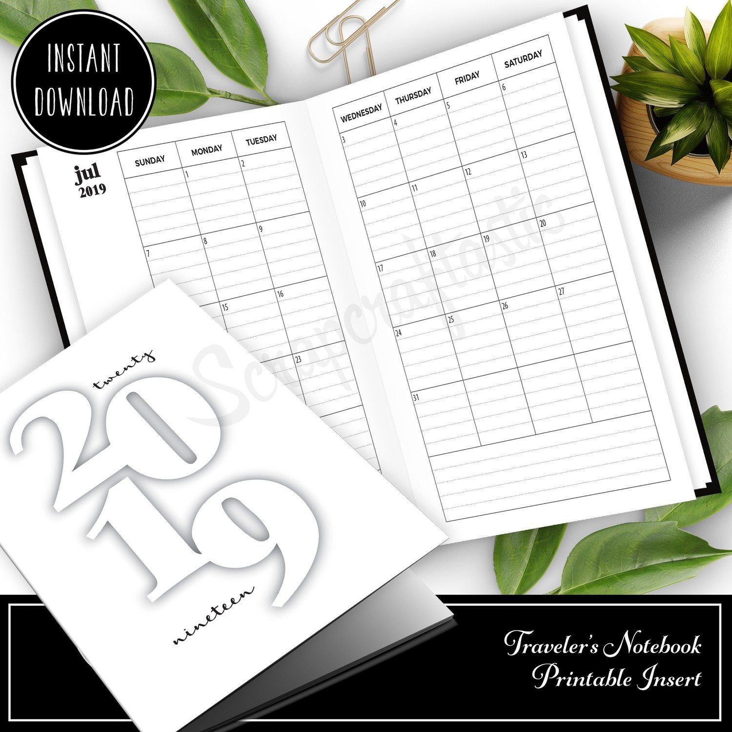 B6 TN or RINGS Dated: 2019 Monthly B6 Printable Insert (Binder or Traveler's Notebook)