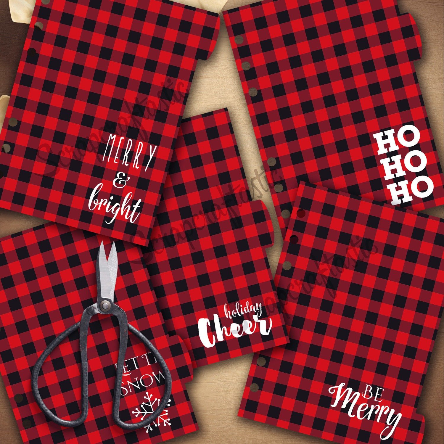 PERSONAL RINGS Holiday Buffalo Plaid 5 Tab - Printable Dividers and Studio Cut File