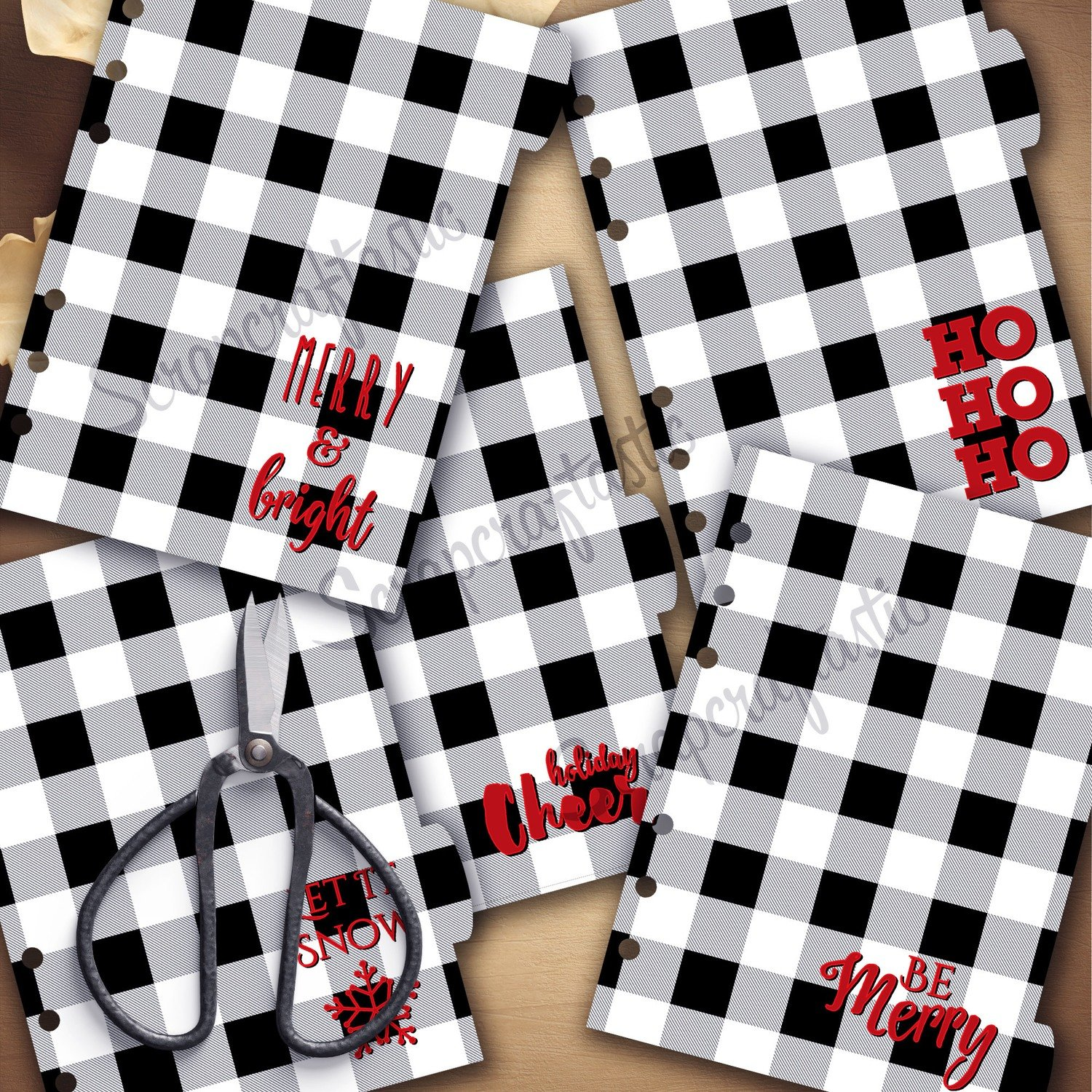 B6 RINGS - Holiday Buffalo Plaid Black White 5 Rounded Tab Printable Dividers and Studio Cut File