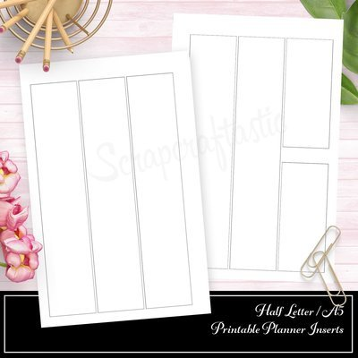HALF LETTER - Basic Columns Half Page WO2P Printable Planner Inserts