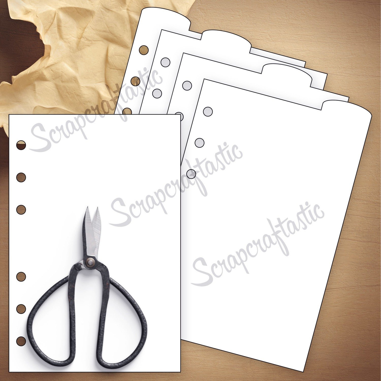 HALF LETTER (A5) - 4 Rounded Top Tab Divider Printable Templates and Cut Files