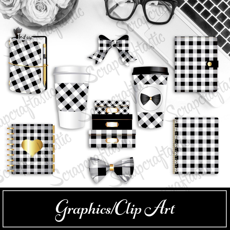 Buffalo Plaid Black and White Digital and Printable Graphics / Clip Art