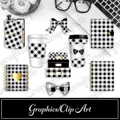 Buffalo Plaid Black and White Digital and Printable Graphics / Clip Art