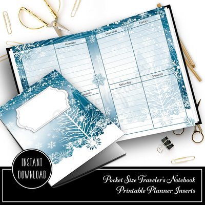 Wintery Designed Pocket Size Printable Traveler's Notebook Insert