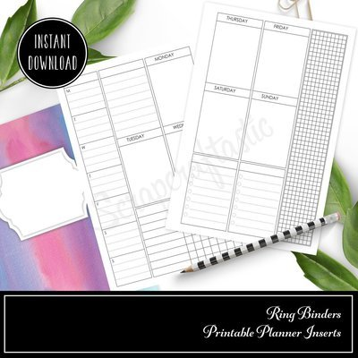 B6 RINGS - Deluxe Vertical Week on Two Pages (WO2P) Printable Inserts
