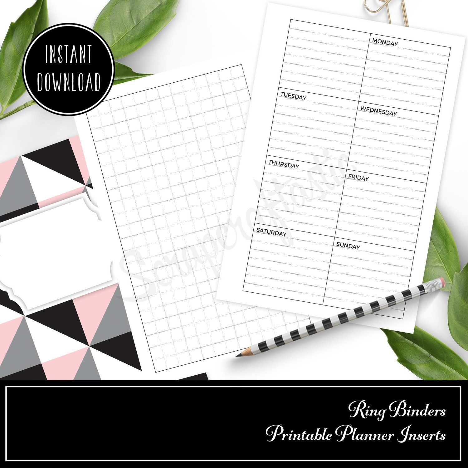 FULL PAGE LETTER SIZE - Grid and Boxed Lined Undated Weekly Printable Planner Insert