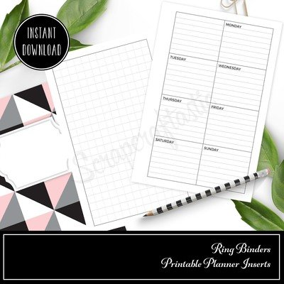 HALF LETTER / A5 RINGS - Grid and Boxed Lined Undated Weekly Printable Planner Insert