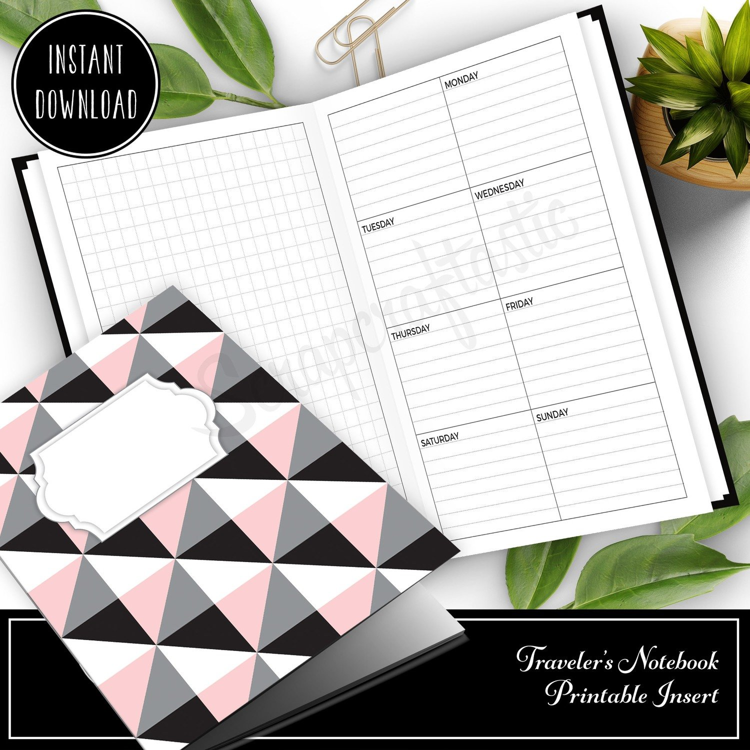 STANDARD TN - Grid and Boxed Lined Undated Weekly Traveler's Notebook Printable Planner Insert