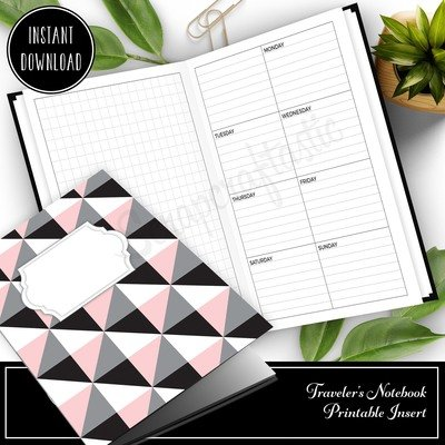 B6 SLIM TN - Grid and Boxed Lined Undated Weekly Traveler's Notebook Printable Planner Insert