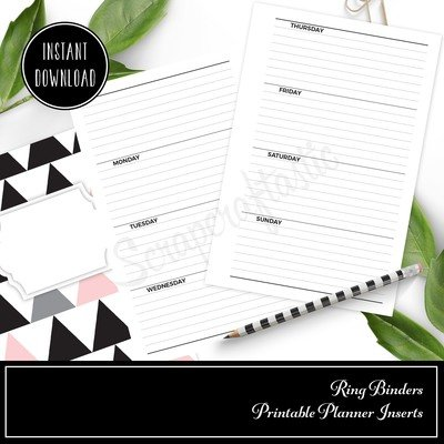 HALF LETTER / A5 RINGS - Horizontal Lined Undated Weekly Printable Planner Insert