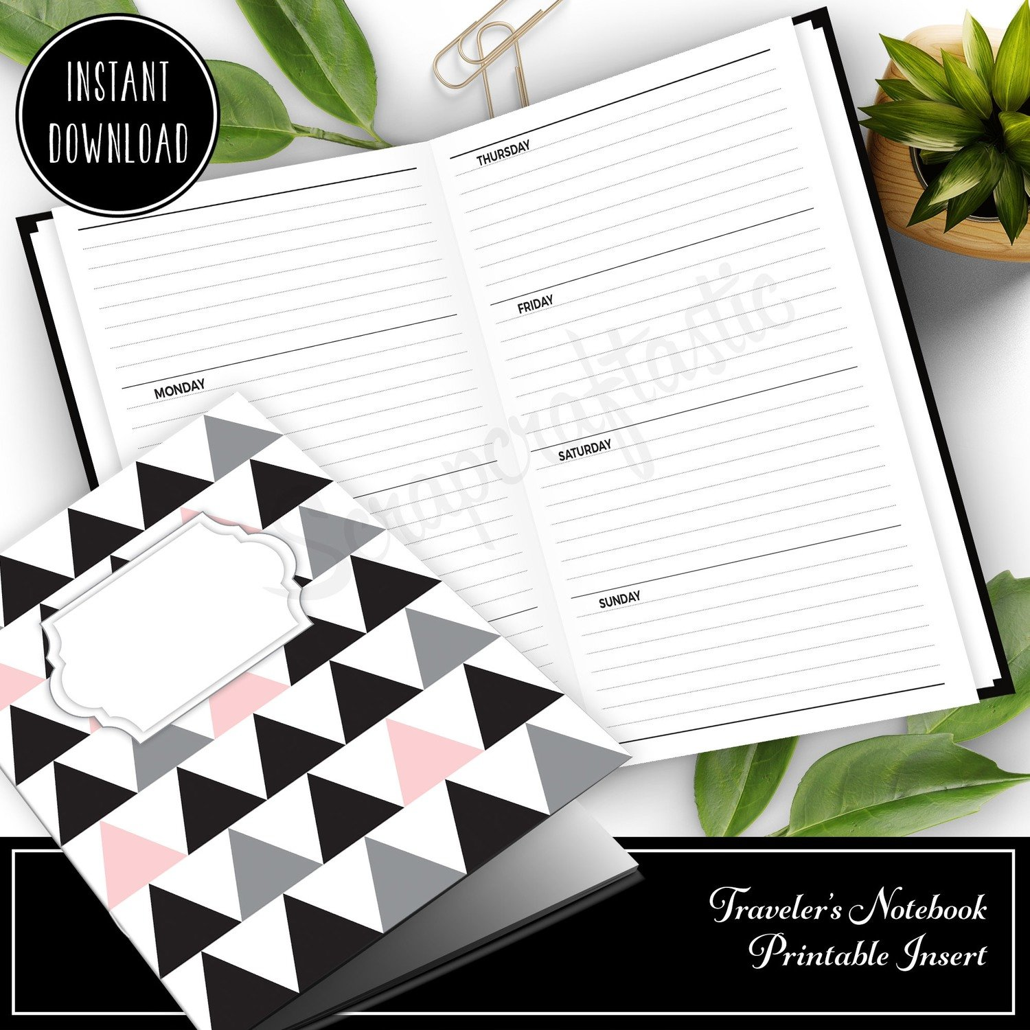 STANDARD TN - Horizontal Lined Undated Weekly Traveler's Notebook Printable Planner Insert