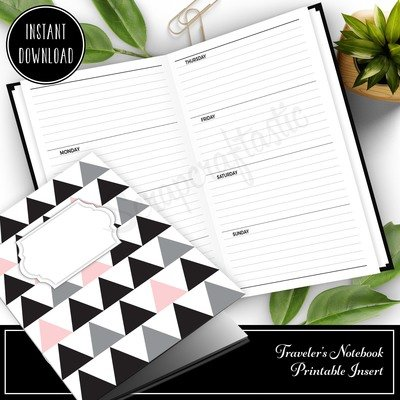 CAHIER - Horizontal Lined Undated Weekly Traveler's Notebook Printable Planner Insert
