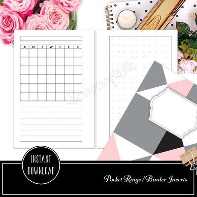 POCKET RINGS - Undated Monthly and Dot Grid Printable Planner Insert