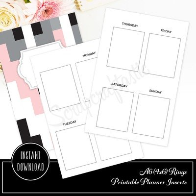 A6 RINGS - Week on Two Pages EC Full Box Undated Weekly Printable Planner Insert