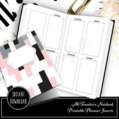 A6 TN - Week on Two Pages HP Full Box Undated Weekly Printable Traveler's Notebook Insert