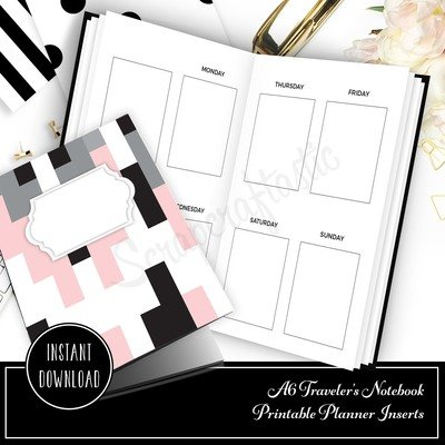 A6 TN - Week on Two Pages EC Full Box Undated Weekly Printable Traveler's Notebook Insert