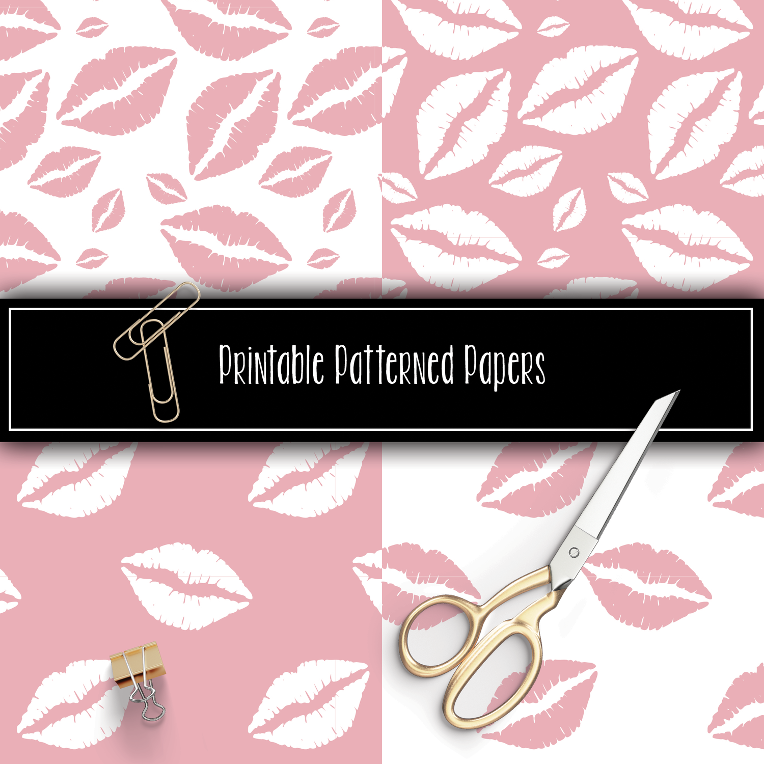 Soft Pink Lips Printable Patterns
