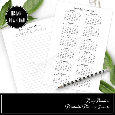 Free 2019 Year At A Glance Printable Planner Inserts