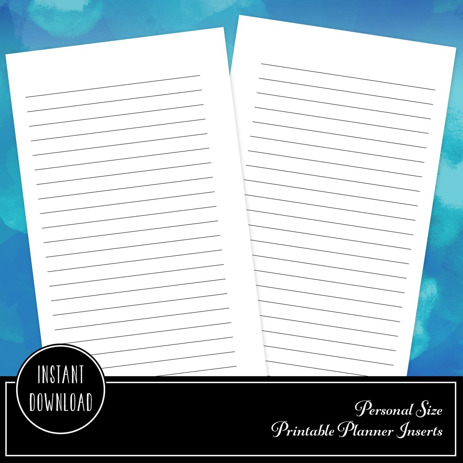 Note Lines Personal Size Printable Planner Inserts