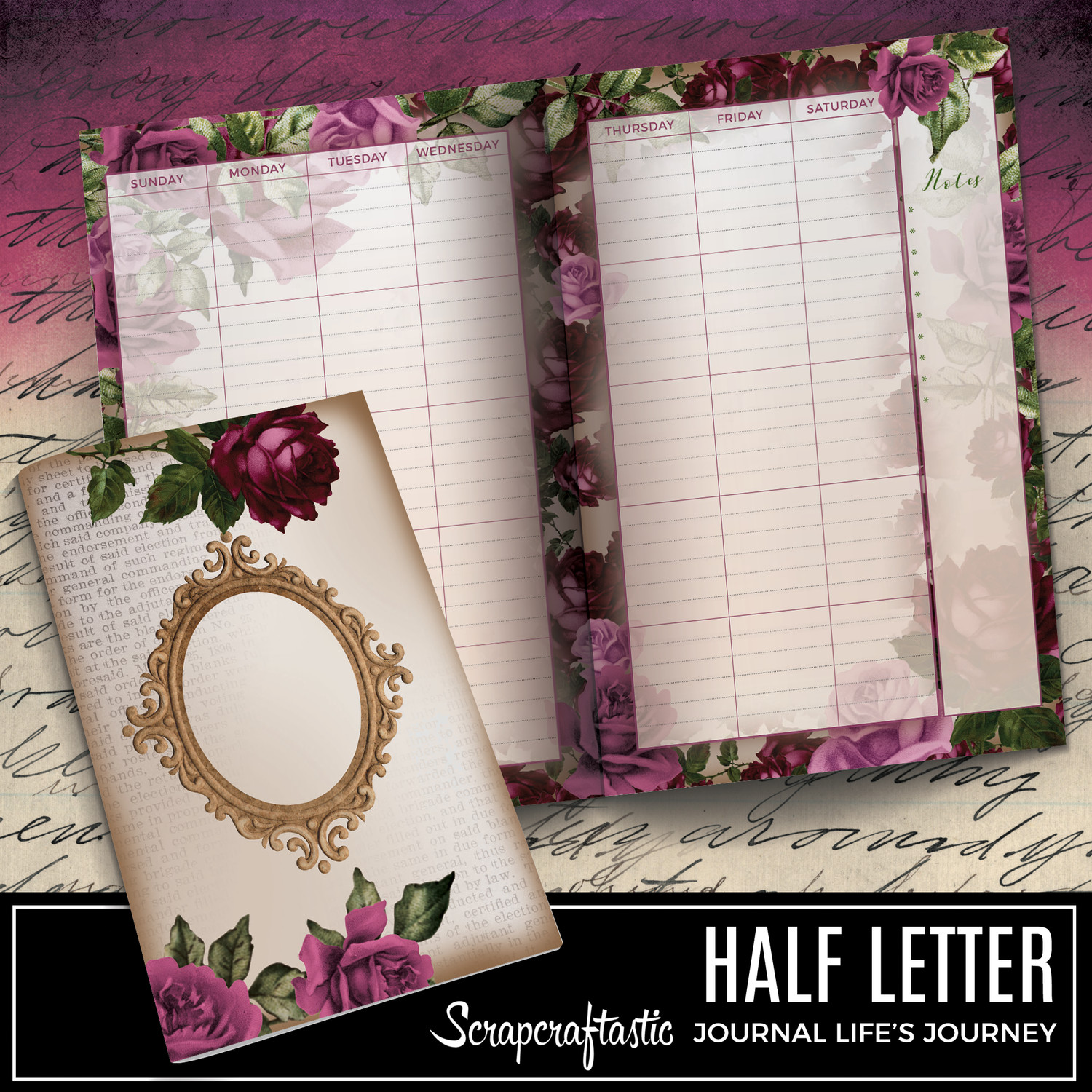 HALF LETTER - Deep Floral Vintage Printable Undated Monthly Journal