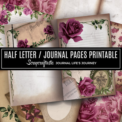 Deep Floral Vintage Digital Printable Half Letter Junk Journal Pages
