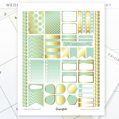 Mint & Gold Printable Planner Stickers for MAMBI Happy Planner