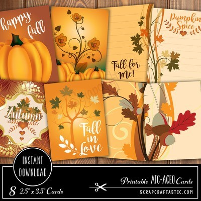 Pumpkin Spice ATC-ACEO Card Digital Collage Print Sheet